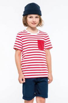 Dìtské pruhované trièko s kapsièkou