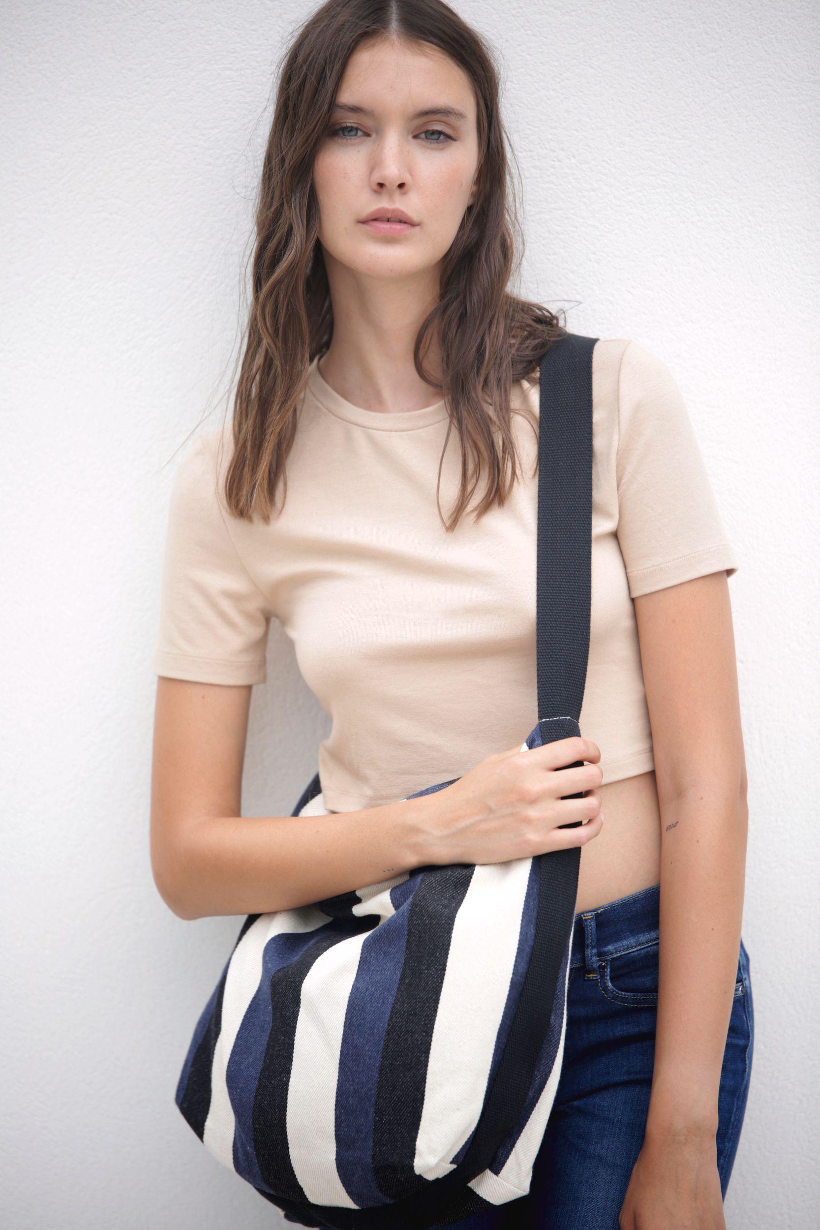 Recyklovaná taška pøes rameno - Pruhovaný vzor - zvìtšit obrázek